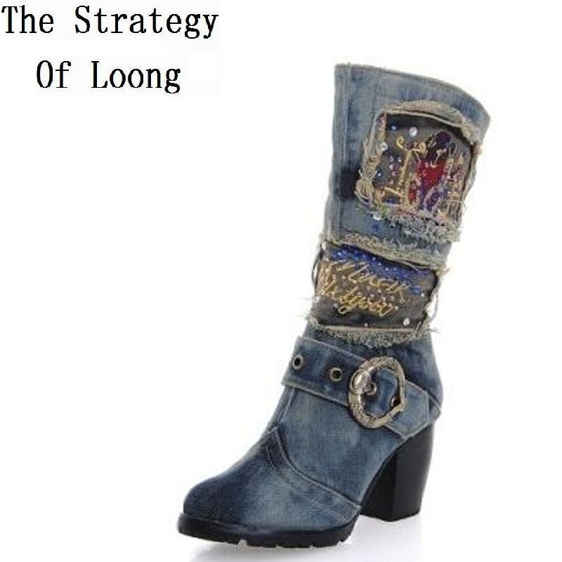 2016 New Women Spring Autumn Thick Mid Heel Jean Buckle Half Boots Lady Fashion Denim Side Zipper Mid Calf Boots SXQ0603