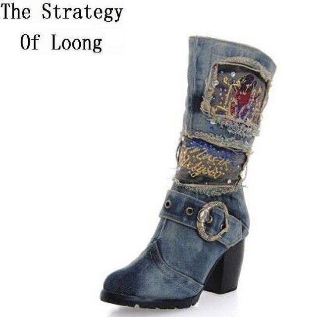 2016 New Women Spring Autumn Thick Mid Heel Jean Buckle Half Boots Lady Fashion Denim Side Zipper Mid Calf Boots SXQ0603