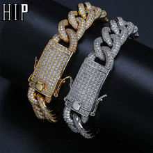 Hip Hop Full AAA Crystal Iced Out Cubic Zirconia Miami Curb Bling Pave Men's Cuban Bracelet Chain Bracelets for Men Jewelry