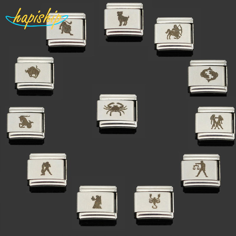 Hapiship 2018 1Pcs 9mm Width Original Daisy 12 Zodiac Signs Charm Fit Bracelet Silver Stainless Steel Jewelry Making DJ051