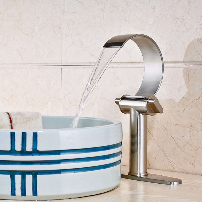 Waterfall Spout Bathroom Mixer Tap Brushed Nickle Dual Handle Single Hole 10 Plate Basin Sink Faucet led color changing brushed nickle basin faucet hot and cold water faucet waterfall spout dual handle tap