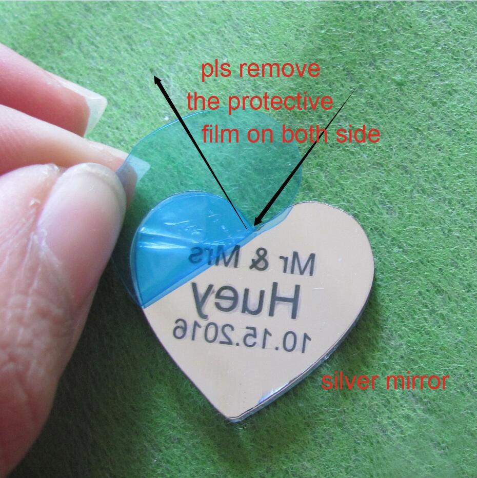 50/100 unids personalizado Mr & Mrs Mirror Love Heart Favores de boda - Para fiestas y celebraciones - foto 6