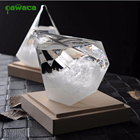 Pawaca Creative Diamond Shape Weather Forecaster Barometer Crystal Storm Glass Home Office Decoration Birthday Christmas Gift