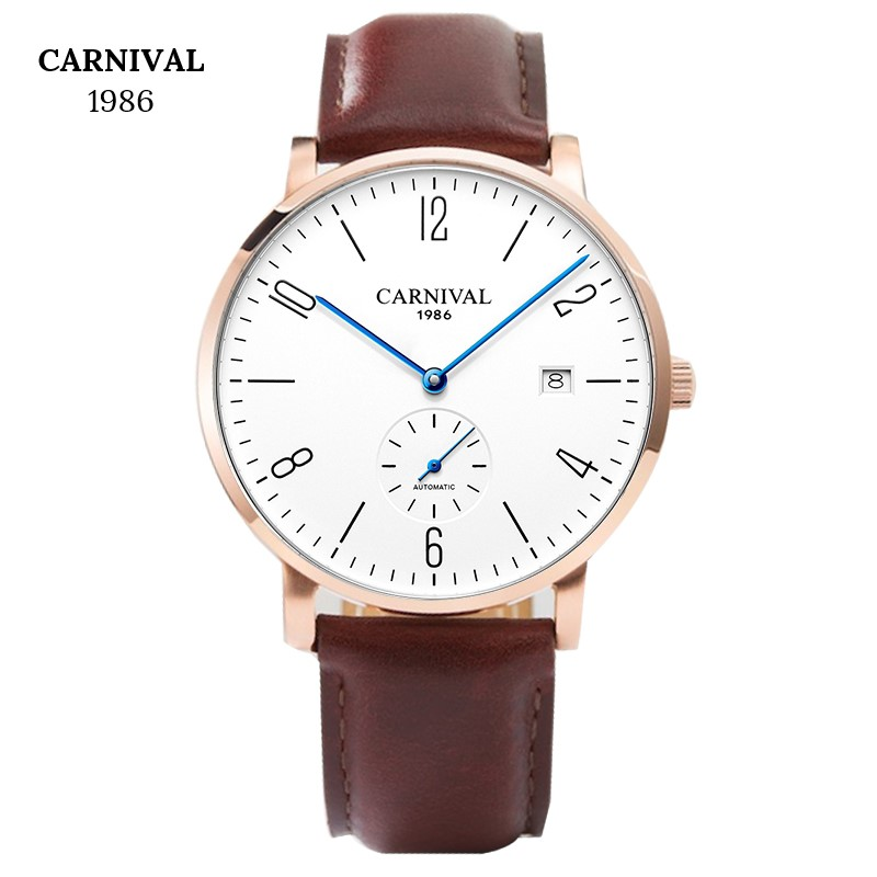Fashion Super slim Mechanical Watches Top brand CARNIVAL Automatic Watch Men With Calendar Small second dial Waterproof SapphireFashion Super slim Mechanical Watches Top brand CARNIVAL Automatic Watch Men With Calendar Small second dial Waterproof Sapphire