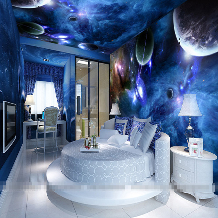 Free shipping universe planet kiv bar ceiling decoration for Ceiling mural in a smoker s lounge