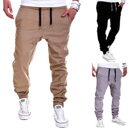 Men's Fashion Casual Elastic Drawstring Pants Baggy Sweatpants Harem Trousers