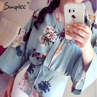 Simplee Floral Print Chiffon Kimono Blouse Shirt Women Nine Quarter Side Split Kimono Japanese Summer Party