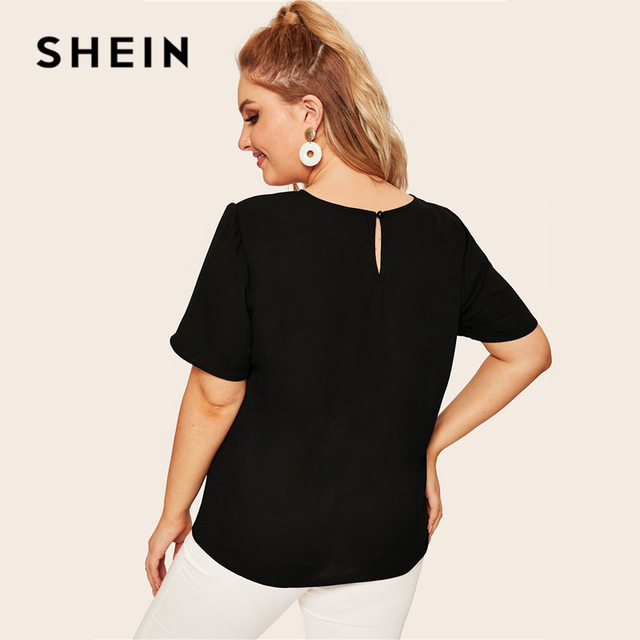 SHEIN Plus Size Keyhole Back Cut-And-Sew Women Blouse Summer Casual Colorblock Round Neck Short Sleeve Blouse Ladies Tops 1