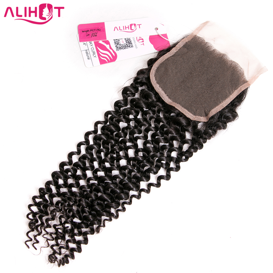 ALI HOT 4*4 Free Part Peruvian Kinky Curly Closure One Piece 130% Swiss Lace Closure Remy Human Hair Weave Closure Free Shipping