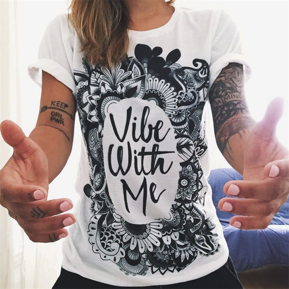 2016 summer women printed white t shirt o neck fashion short