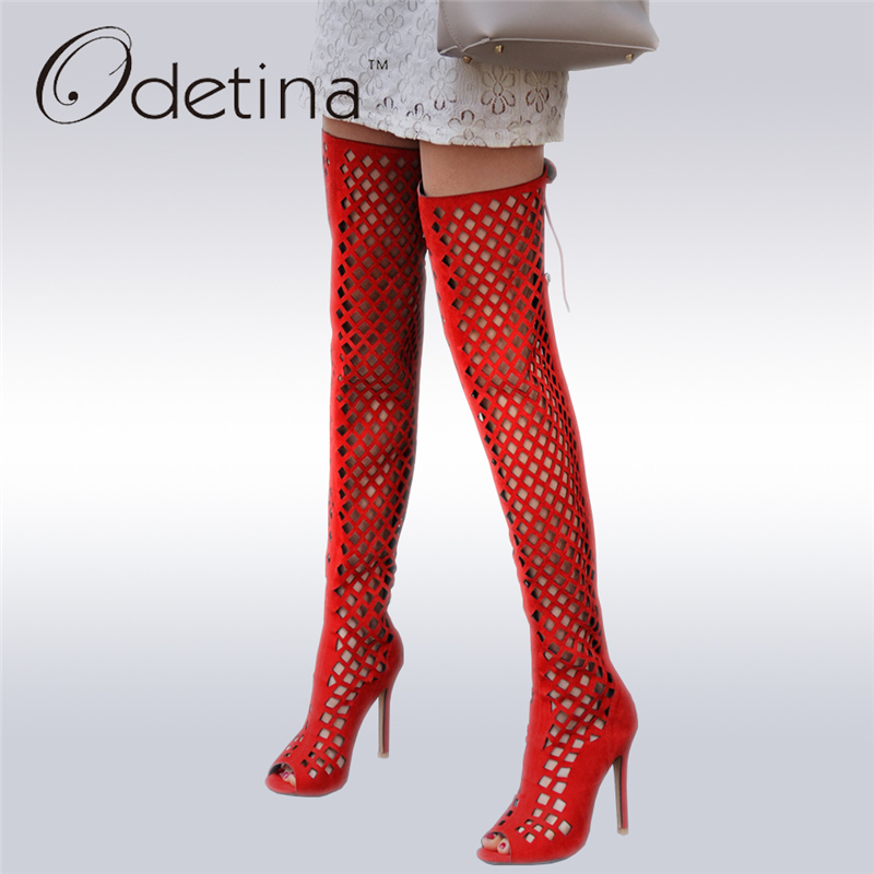 Odetina 2017 Fashion Over The Knee Gladiator Sandals High Heel Women Hollow Out Summer Boots Stiletto Thin Heels Big Size 32-46 roman high heeled sandals women over the knee high boots fetish lady s med stiletto boots sexy hollow gladiator shoes woman