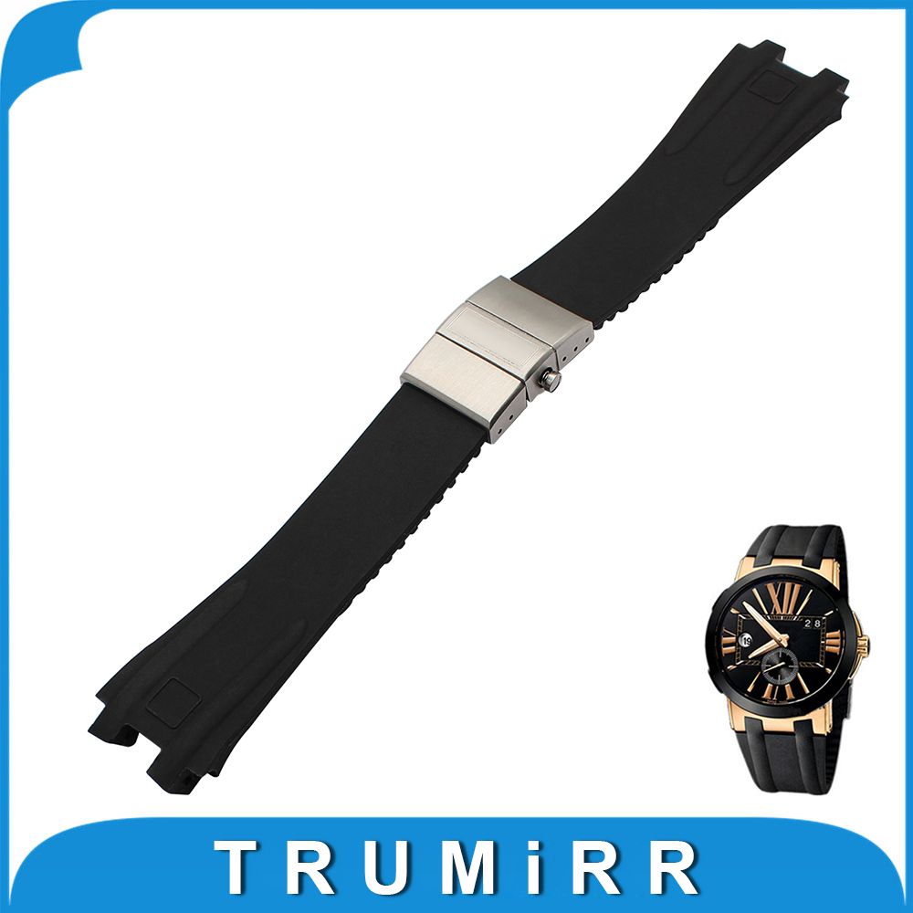 26mm Silicone Rubber Watchband for Ulysse Nardin Executive 243 Men Watch Band Steel Butterfly Buckle Strap Wrist Bracelet Black ulysse