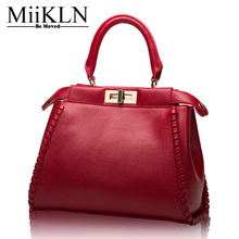 MiiKLN Fashion Women Handbags Genuine Leather Shell Type Cow Leather Totes Shoulder Crossbody Bags High Quality Soft Middle Size