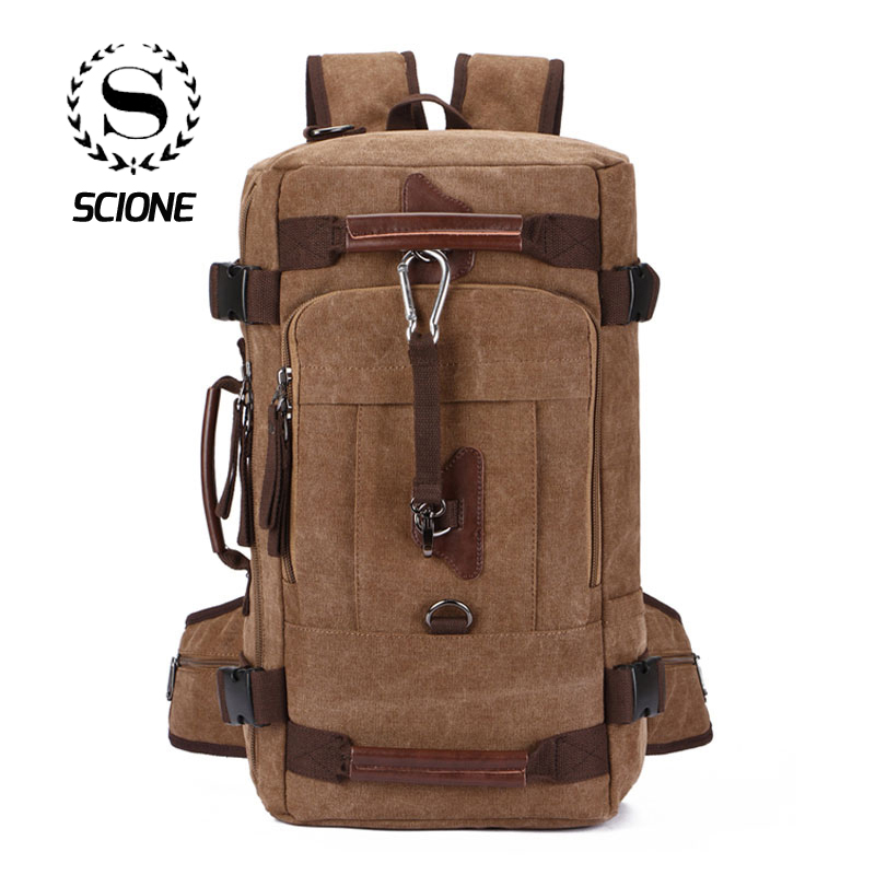 Scione High Quality Canvas Casual Travel Backpacks Large Practical Solid Duffle Luggage Bags Suitcase Bagpack For Outdoor Hiking-in Travel Bags from Luggage & Bags    1