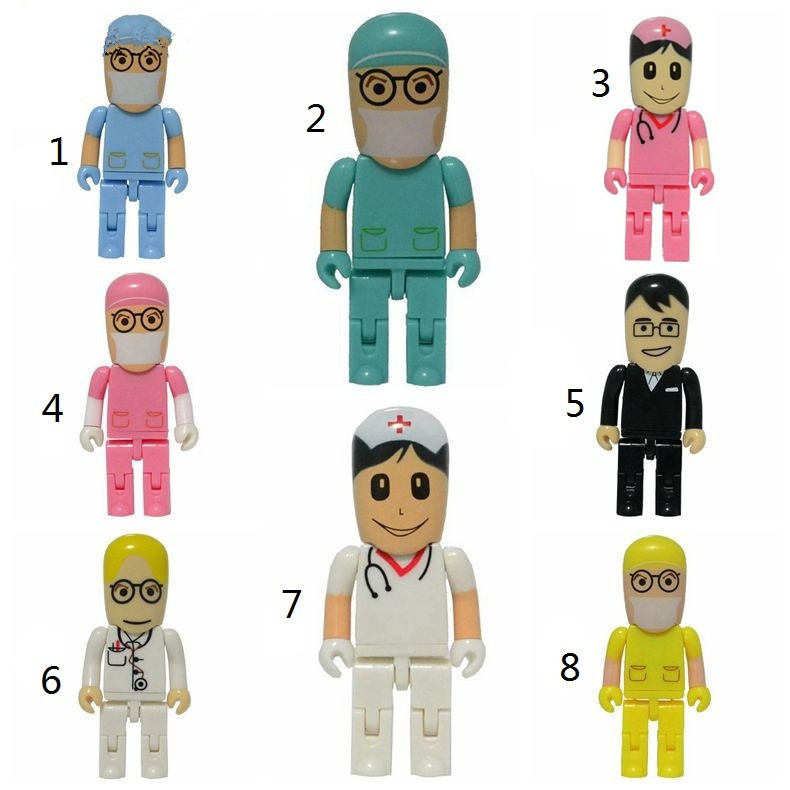 Custom Logo Cartoon Doctor Series USB Flash Drive 128gb Usb 2.0 4GB 8GB Pen Drive 16GB 32GB 64GB Hospital Nurse Pendrive Gifts