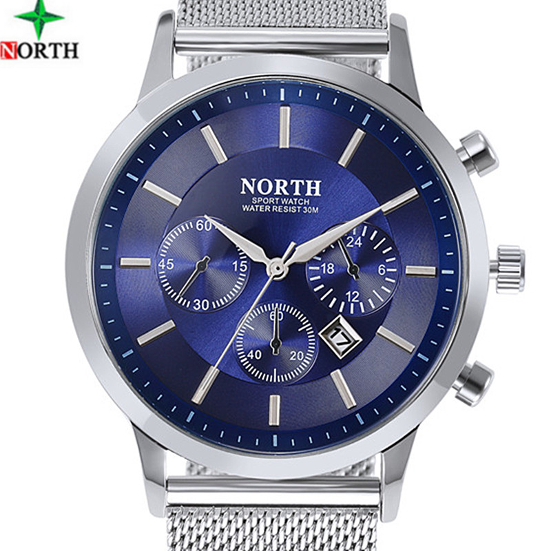 NORTH Watches Men Military Quartz Waterproof Watch Stainless Steel Casual Male Clock Fashion Desgin Men Sport Relogio Masculino weide popular brand new fashion digital led watch men waterproof sport watches man white dial stainless steel relogio masculino