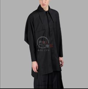 Primavera y verano nueva camisa casual suelta cuello de manga larga camisa estilista de pelo masculino abrigo suelto de color puro. ¡S-6XL!