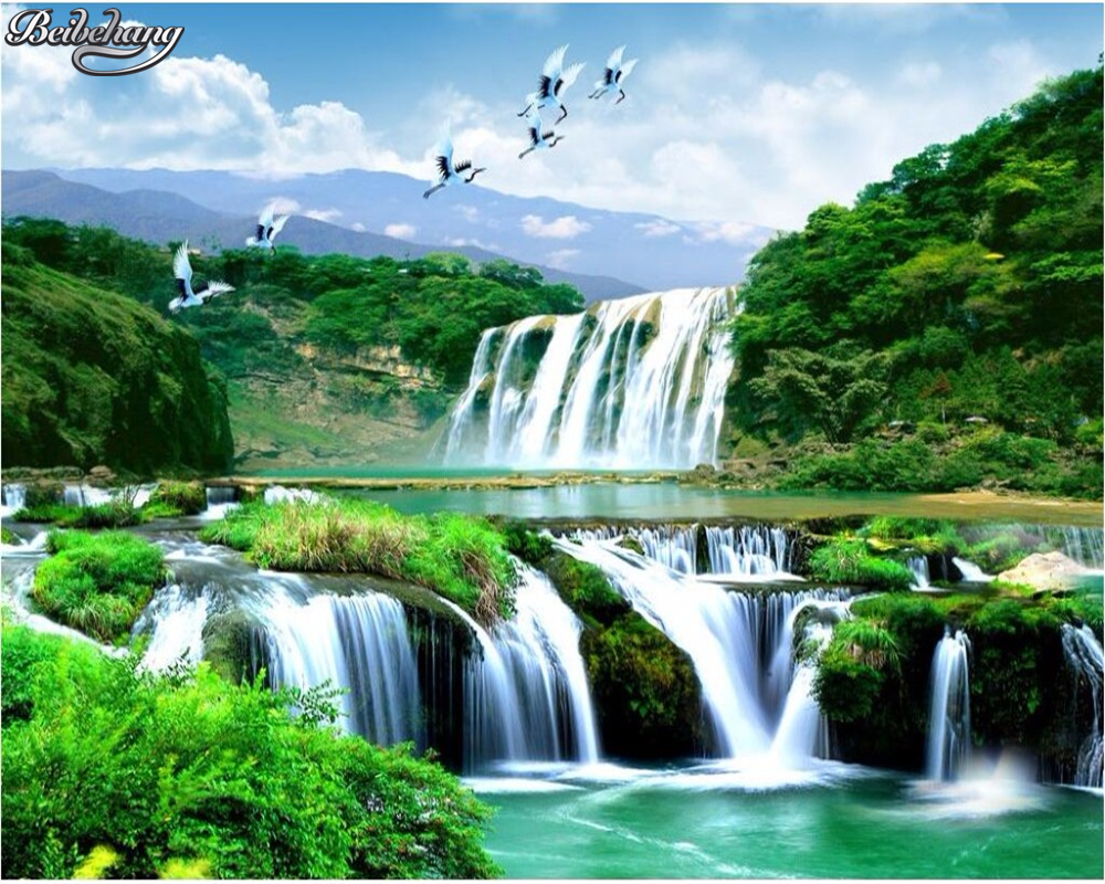 Custom 3d Mural Wallpapers Hd Landscape Mountains Lake: Beibehang Custom Wallpaper Luxury HD Waterfall Natural