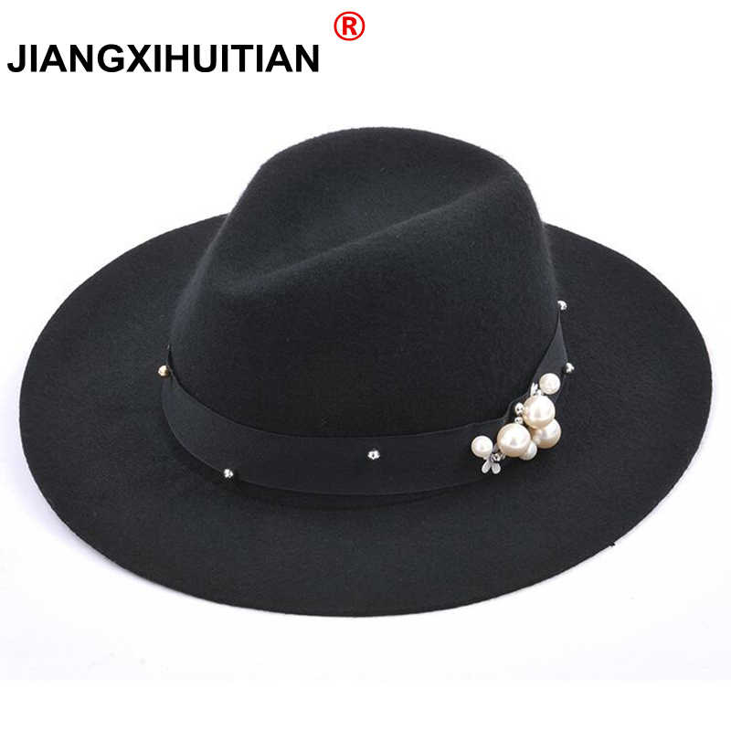 2017 Brand women's Pearls Fedora black truly 100%Wool Hat For noble Woolen Wide Brim Jazz Church Cap Vintage Panama Sun Top Hat