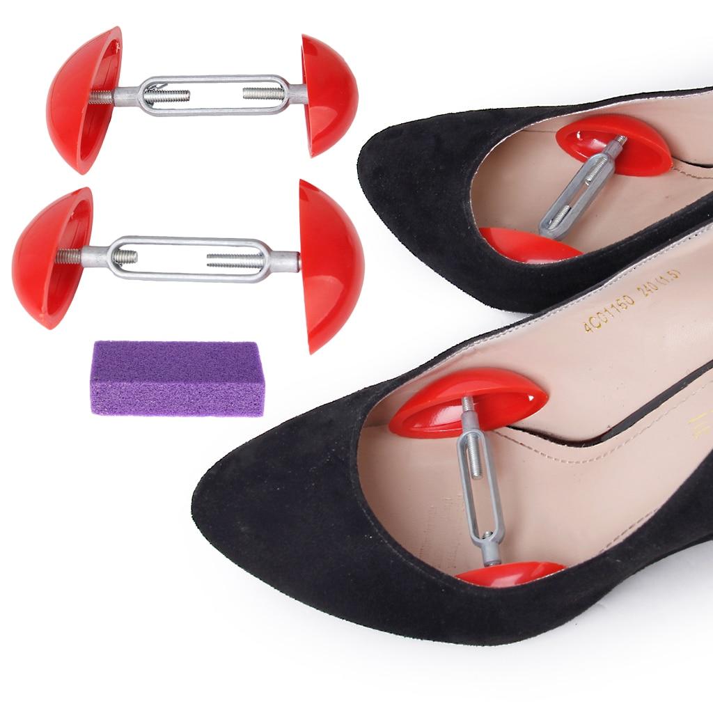Shoes Extenders Mini Stretcher Shaper Extender Adjustable Shoe Trees + Foot Callus Remover Foot Shaper Support For Men Women