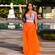 2019 Summer New Women Sexy Beach Mesh Perspective Half-length Pleated Solid Color Long Sunsscreen Beauty Lady Skirt