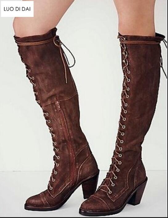 Mujer Metal Zapatos Las gris Invierno Hasta Mujeres negro Pic Punta Botas Moda Otoño Bottes De 2019 rojo Femmes Vintage La Rodilla marrón Tacón Beige Encaje as nZqOBw6Y