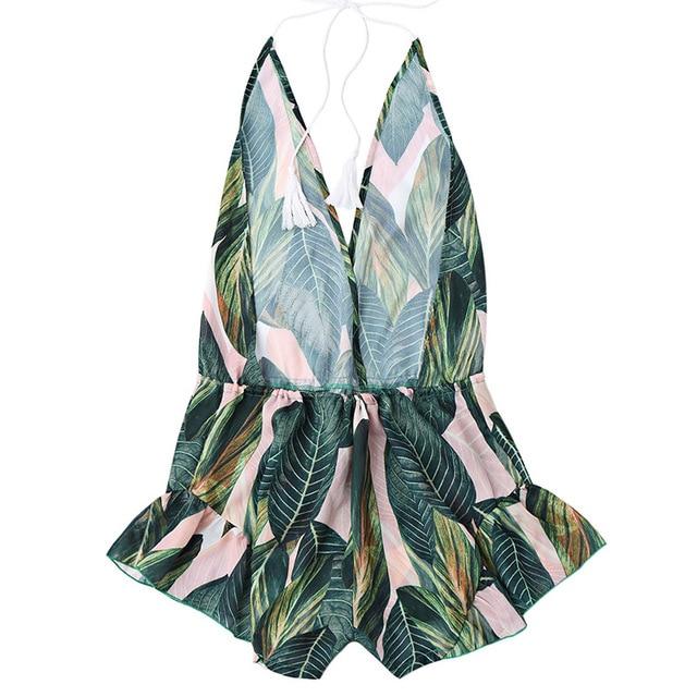 ZAFUL Backless Deep V Neck Sexy Halter Romper Jumpsuit Women Drawstring Leaf Print Summer Playsuit Ladies Beach Overalls  3