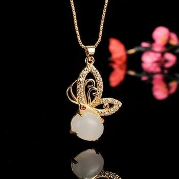 Natural Xinjiang white jade pendant butterfly diamond temperament female models wild collar bone chain send 925 silver necklace