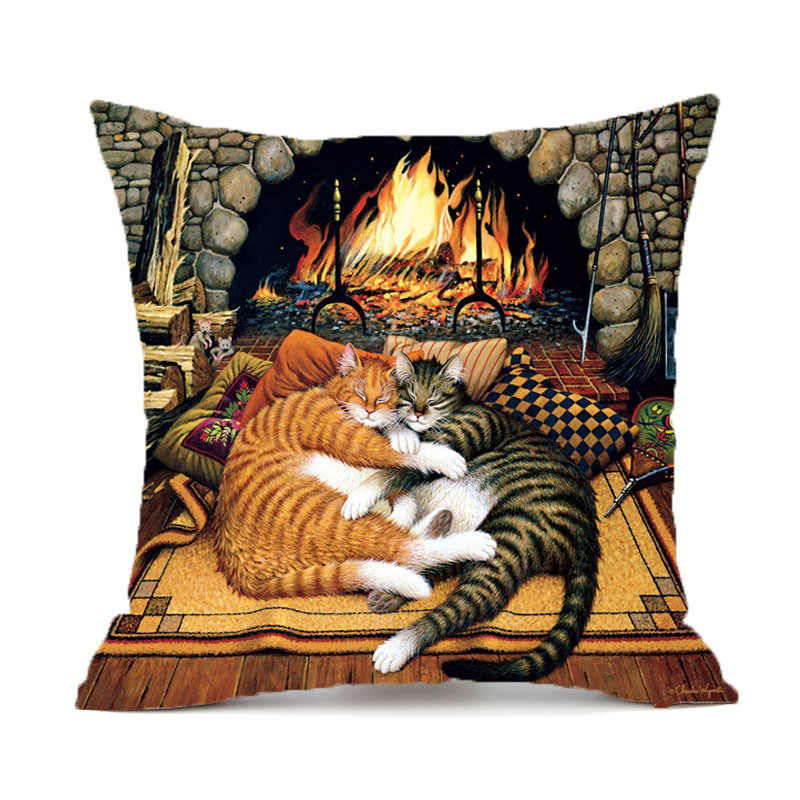 YWZN Cute Cat Stampa Decorativa Federa Creativo Gatto Poliestere Coperte e Plaid Coperture per Cuscini Copertura del Cuscino kussensloop almohada