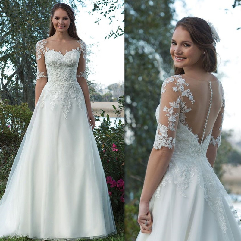 Scoop Tulle Neckline Half Sleeves Lace Applique A-line Wedding Dress illusion Back Sweep Train Button Bridal Dress
