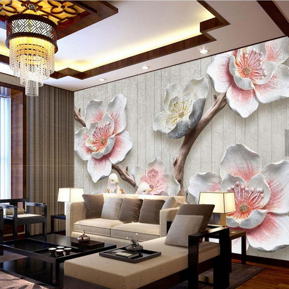 3D Embossed Pink Plum Flower Wall Mural Living Room Home Wall Decor papier  peint 3d Wall Papers Vintage Floral Photo Wallpaper-in Wallpapers from Home  ...