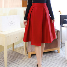 New Winter Pleated Skirt Women Retro Temperament High Waist Umbrella Skirt Female Solid All-Match Women's Skirt 8 Colors C1224