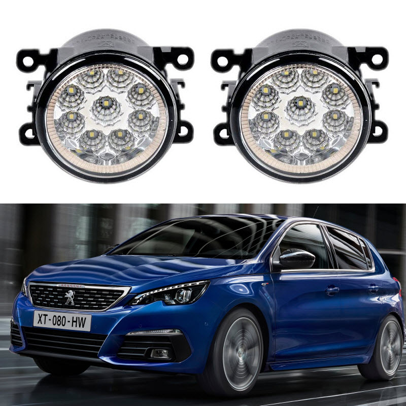For Peugeot 308 2016 2017 2018 LED / Halogen Fog Light Lamp Kit LED DRL Daytime Running Lights Car Styling leadtops car led lens fog light eye refit fish fog lamp hawk eagle eye daytime running lights 12v automobile for audi ae
