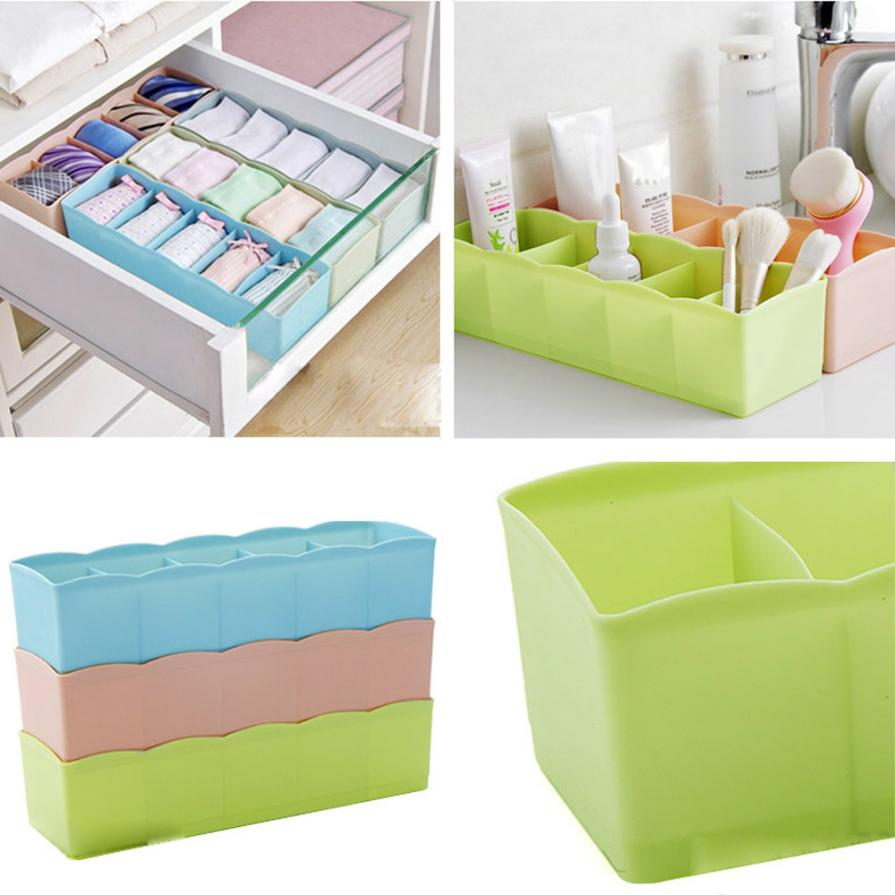 5 Cells Plastic Clothes Storage Box Organizer Tie Bra Socks Drawer Cosmetic  Divider Tidy Organization May31