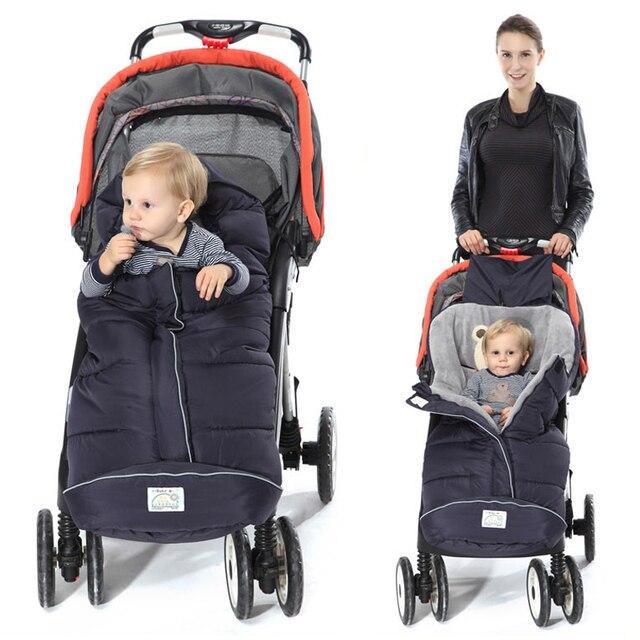 Winter Sleeping Bag Baby Bags For Stroller With Footmuff Infant Cartoon Bear Kids