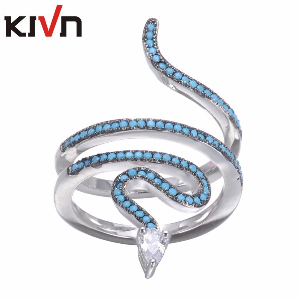 KIVN Módní šperky Snake Delicate Pave CZ Cubic Zirconia Snubní prsteny pro ženy