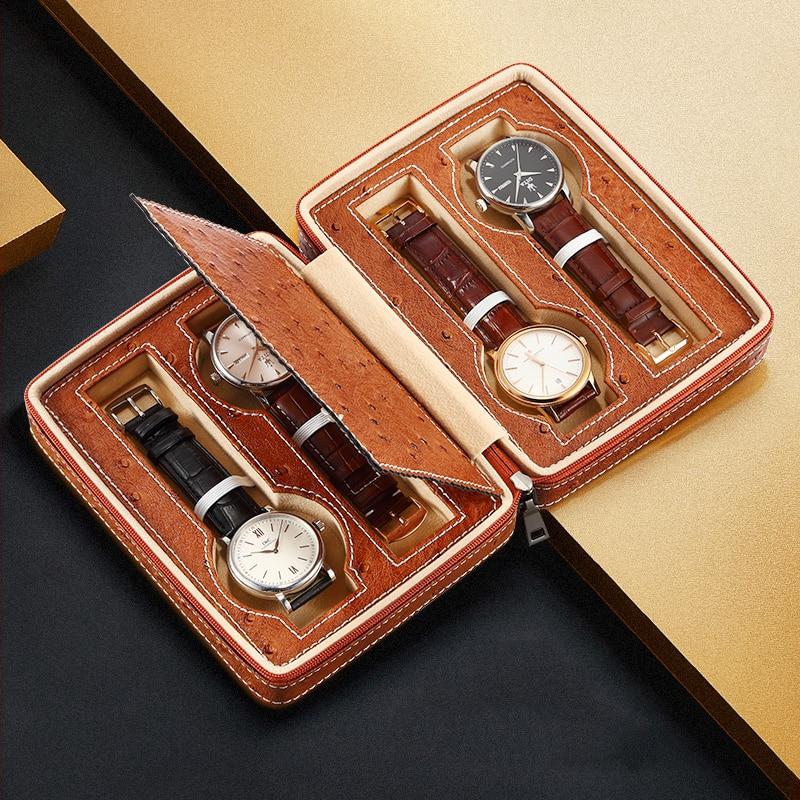 Hohe qualität gewohnheit logo uhr strap verpackung leder geschenk boxen 4 uhren box-in Uhrenboxen aus Uhren bei  Gruppe 2