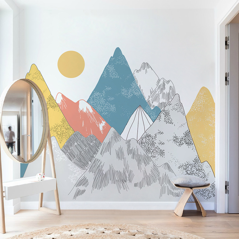 Image 4 - Creative Colored Mountains Sunset Pattern Wall Stickers Woodland  Tribal Living Room Wall Decal Vinyl Art Wallpaper DecorationWall  Stickers