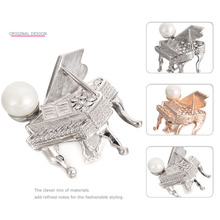 MloveAcc Classic Luxury Women Brooch Jewelry Gold-color Accessories Rhinestone Piano Brooches Wedding Scarf Hijab Lapel Pins
