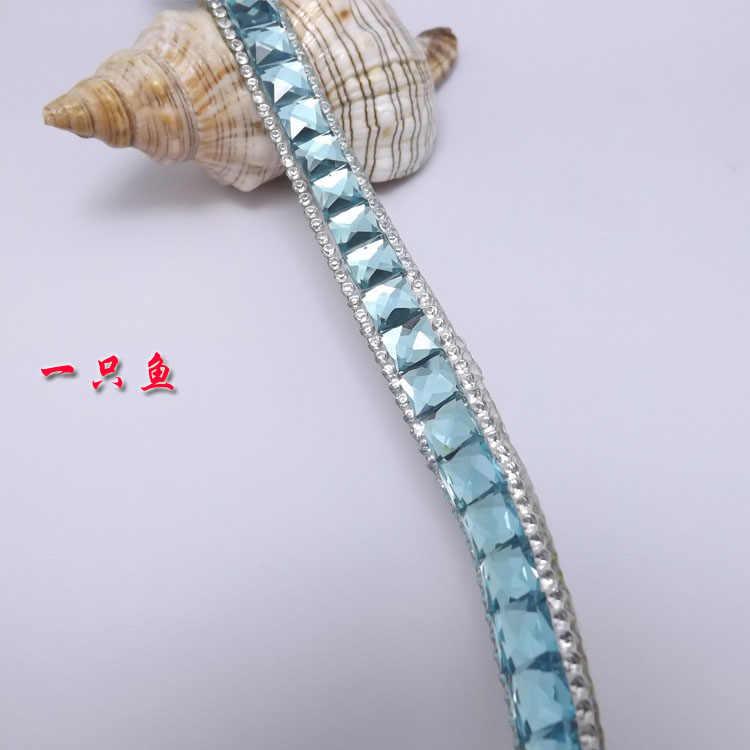 Квадратная лента из стразов, 10 ярдов/партия, синяя отделка носорога прозрачная декоративная лента, стеклянная необычная Блестящая декоративная отделка, Ширина 13 мм