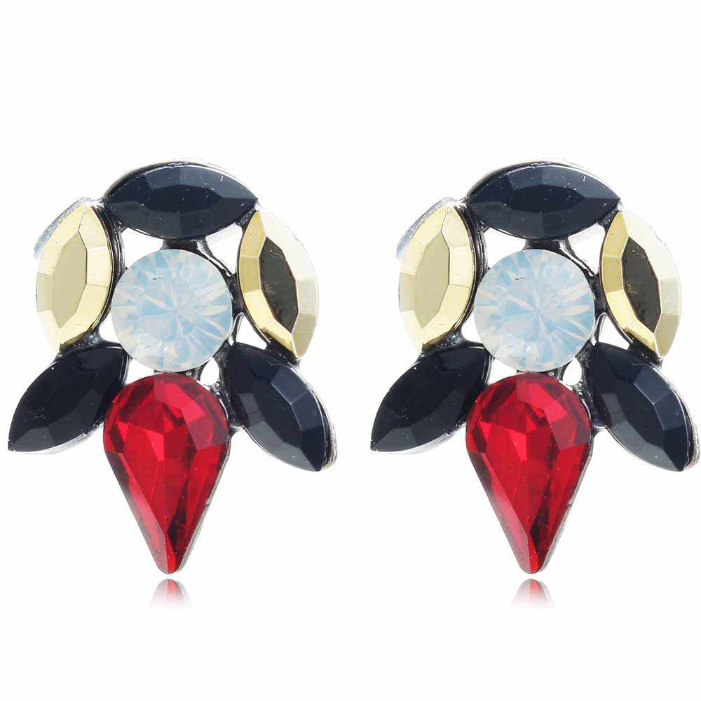 YaYi Gold Red Black White Glass Rhinestone Dangle Earring Women's Fashion Gun Black Gem Earrings For Women E1100