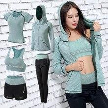 Womens sportswear Yoga Set pants+shorts+bra+t shirt+coats women yoga 5 piece set outdoor sports quick dry tracksuits fitness
