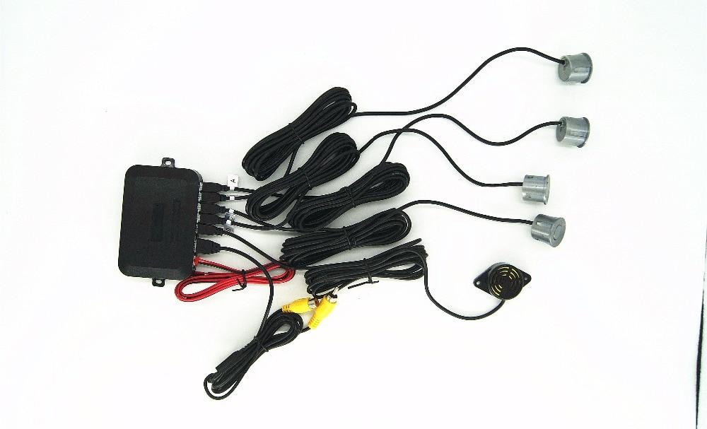 imágenes para 12 V Dual Core CPU Video Sensor De Aparcamiento Inversa Sistema de Radares de Asistencia Visible Pantalla Digital y Step-up alarma Para DVD TFT