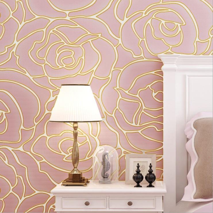 ФОТО Q QIHANG Modern Minimalist 3D Three-dimensional Rose Pattern Wallpaper Non-woven Wallpaper Roll 3 Colors 0.53m*10m=5.3m2