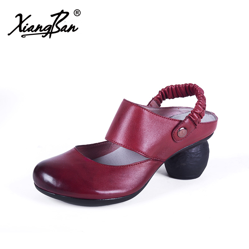 Fashion high heeled leather women sandals thick heel summer slippers retro Baotou sandals back strap elegant ladies shoes redFashion high heeled leather women sandals thick heel summer slippers retro Baotou sandals back strap elegant ladies shoes red