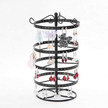New Metal Earrings Organizer Rotating Earring Holder Jewelry Display Necklace Rack Storage Tree 3 Colors Options