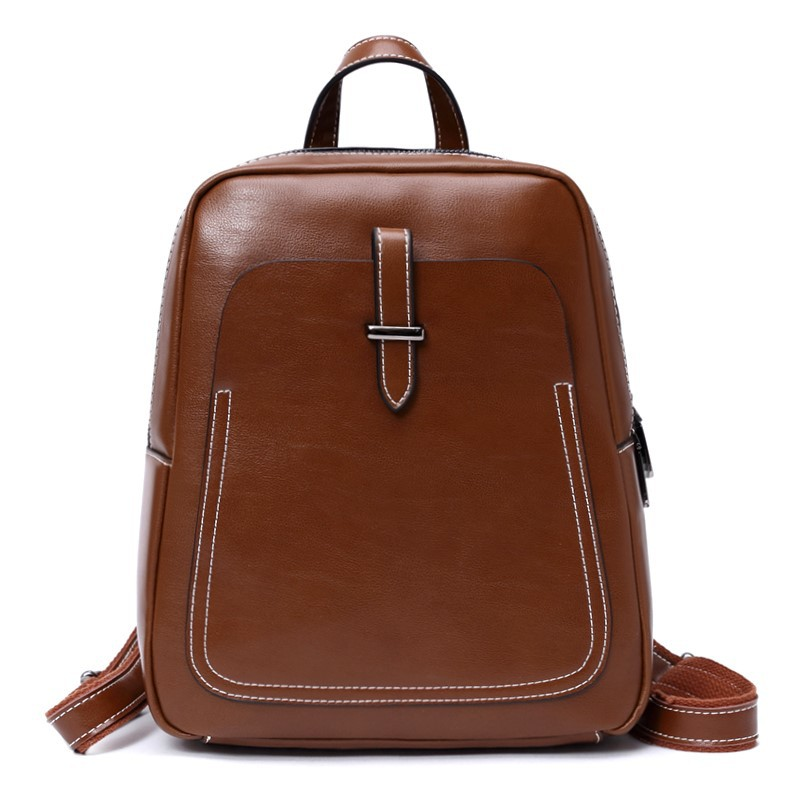 New 2018 Women Leather Backpack Small Vintage Genuine Leather Backpack For Women Solid Casual Women Leather Shoulder Bag hot sale women s backpack the oil wax of cowhide leather backpack women casual gentlewoman small bags genuine leather school bag