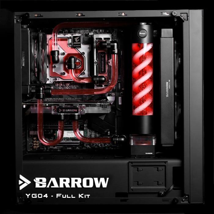 Barrow YG04 Black Style Full Set Hardtubes Water cooling Kit, CPU+GPU block, T Virus Reservoir, RGB lighting, 240/120mm Radiator цена