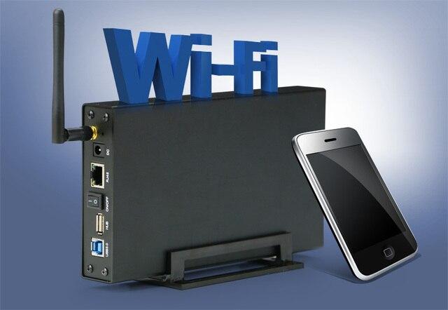 Nuevos productos caja usb 3.0 a sata 6 TB hdd con wifi casos hdd 3.5 ''Con 300 M Wireless Router Wifi libre caliente gratis