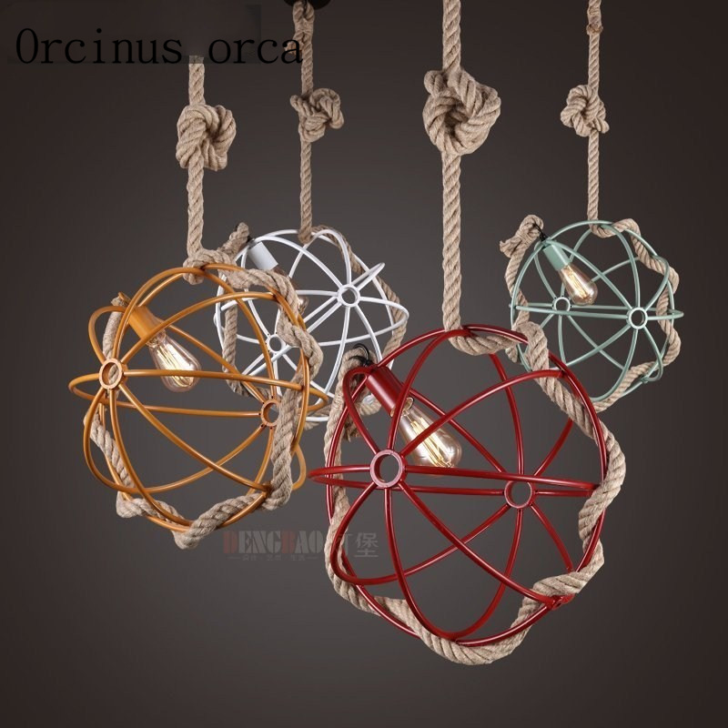 American country industrial creative cafe bar iron wind vintage clothing store front personality rope Chandelier Postage free цена 2017